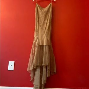 Vintage Formal Mini dress w/ long lace bottom